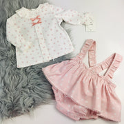 Pink & Cream Two Piece Spanish Dress Set separates