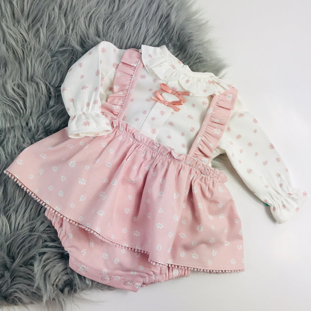 Pink & Cream Two Piece Spanish Dress Set