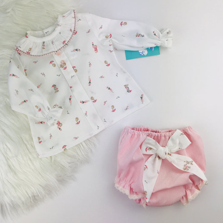 White & Pink Long Sleeve Jam Pants Set
