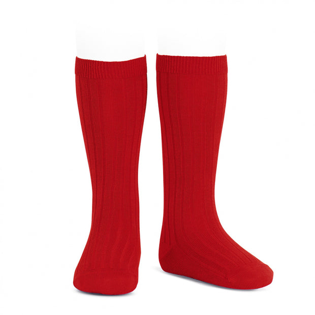 Red Wide Ribbed Knee High Spanish Socks
