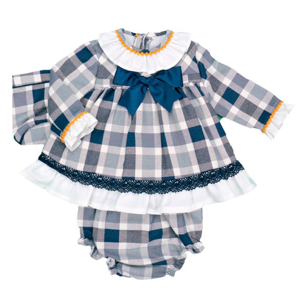 Navy Blue Tartan Long Sleeve Spanish Dress