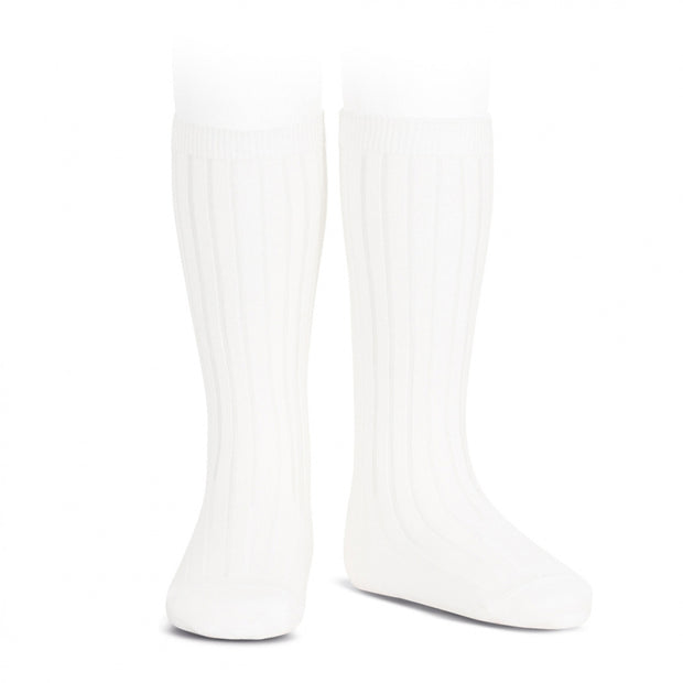 White Wide Ribbed Knee High Spanish Socks