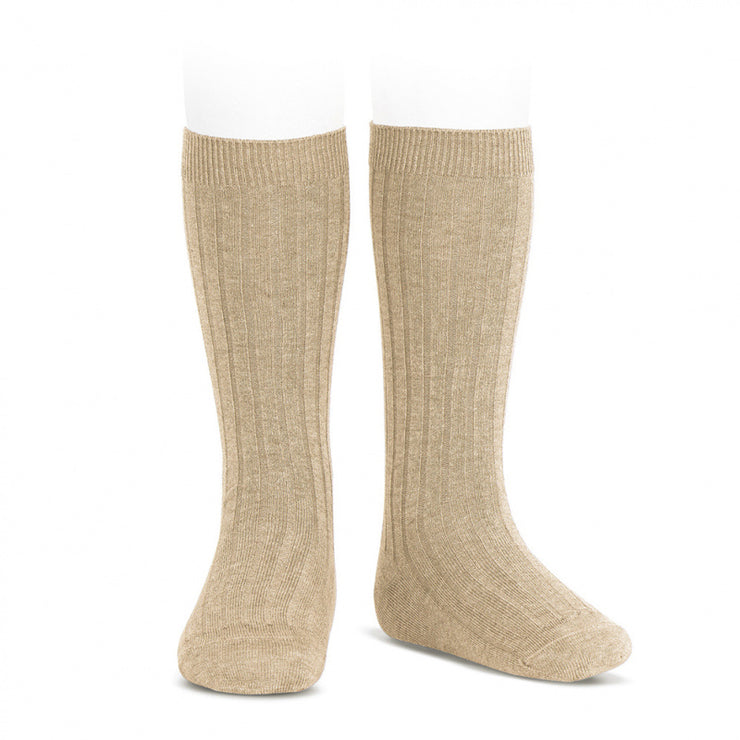 Nougat Wide Ribbed Knee High Spanish Socks