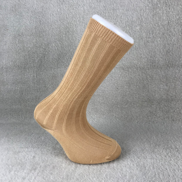 Camel Ribbed Knee High Spanish Socks