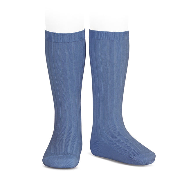 French Blue Wide Ribbed Knee High Spanish Socks