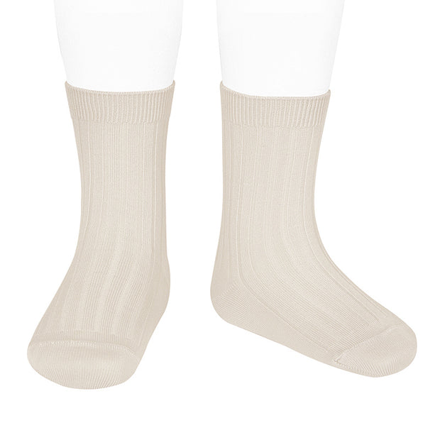 Linen Ribbed Calf Length Spanish Socks