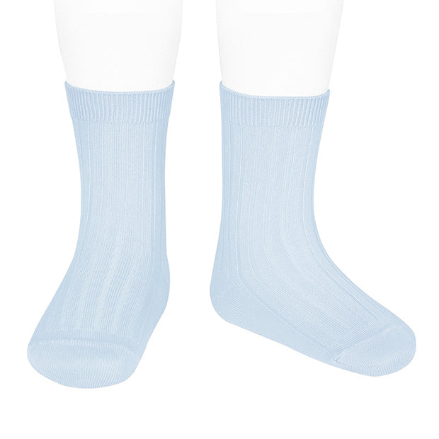 Baby Blue Ribbed Calf Length Spanish Socks