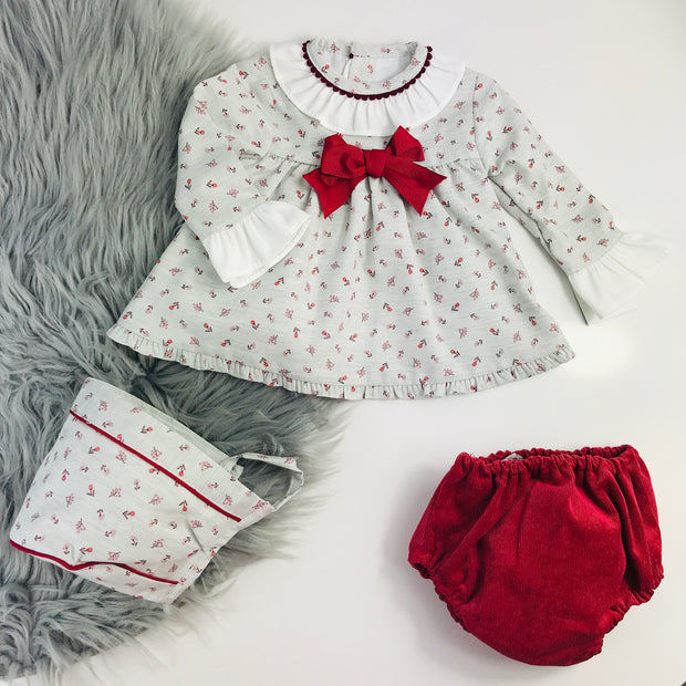 Maroon & Grey Long Sleeve Spanish Jam Pants Set Matching Bonnet