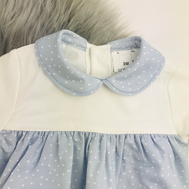 Light Blue & Cream Spotted Romper Collar Close
