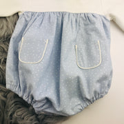 Light Blue & Cream Spotted Romper Bottom Close