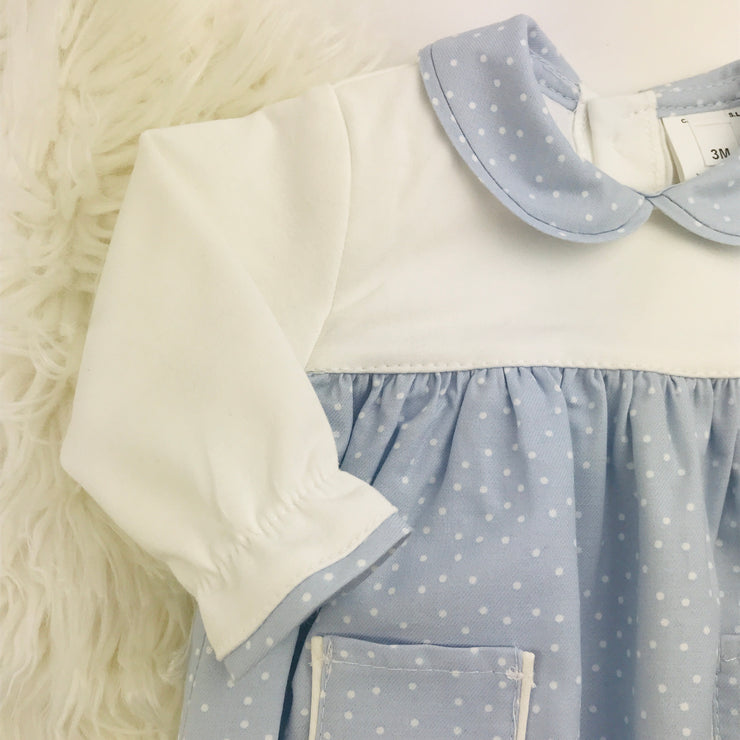 Light Blue & Cream Spotted Romper Collar & Cuff