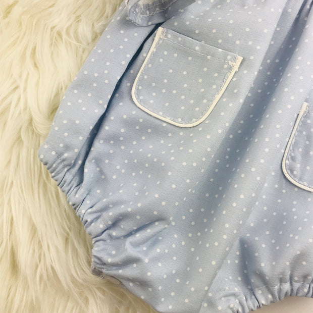 Light Blue & Cream Spotted Romper Leg Cuff