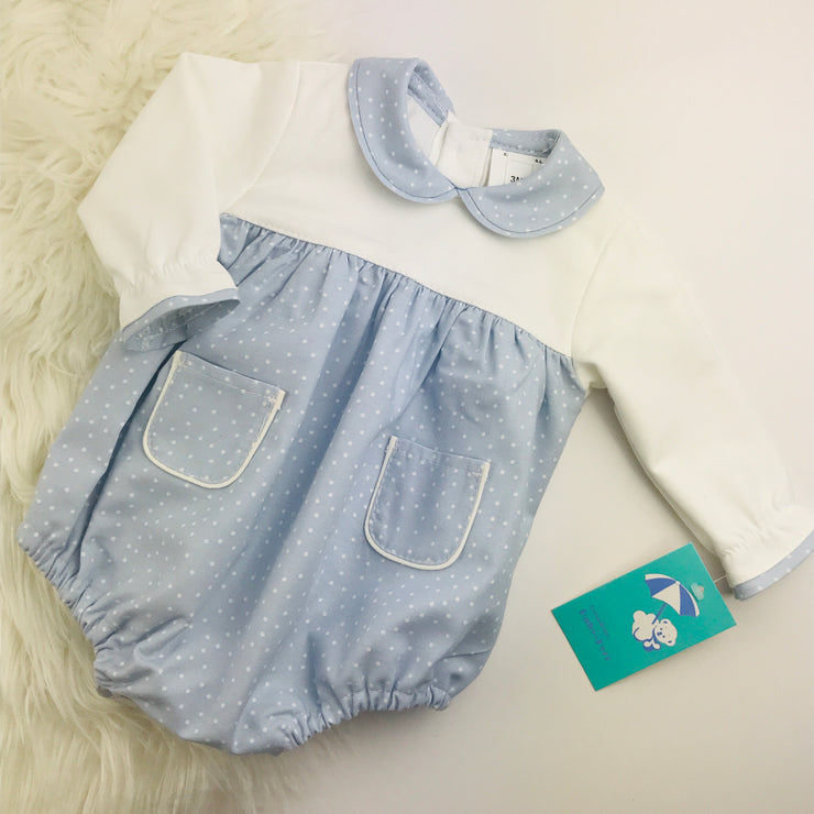 Light Blue & Cream Spotted Romper