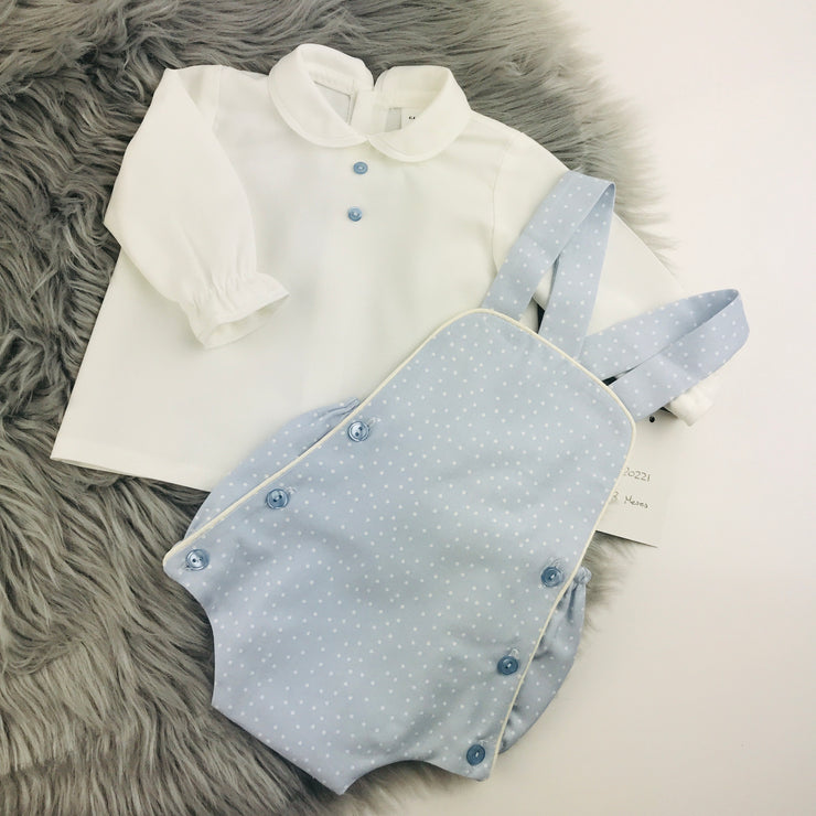 Light Blue Spotted Romper & Shirt Set Separates