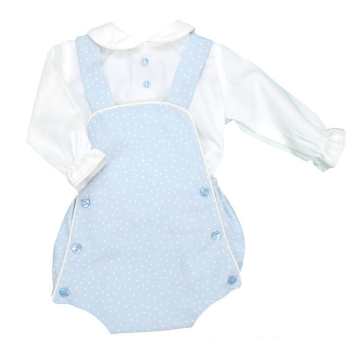 Light Blue Spotted Romper & Shirt Set