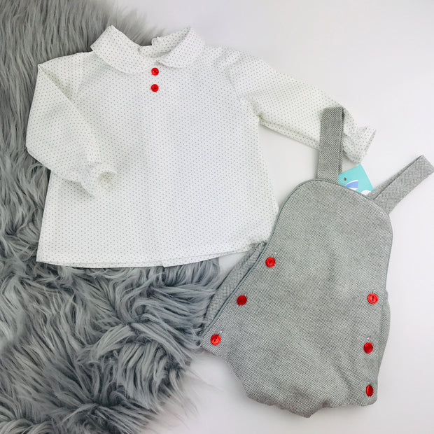 Grey & Red Romper Shirt Set Separate