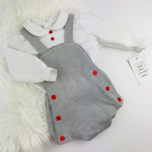 Grey & Red Romper Shirt Set