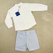 White Shirt & Pin Stripe Shorts Set