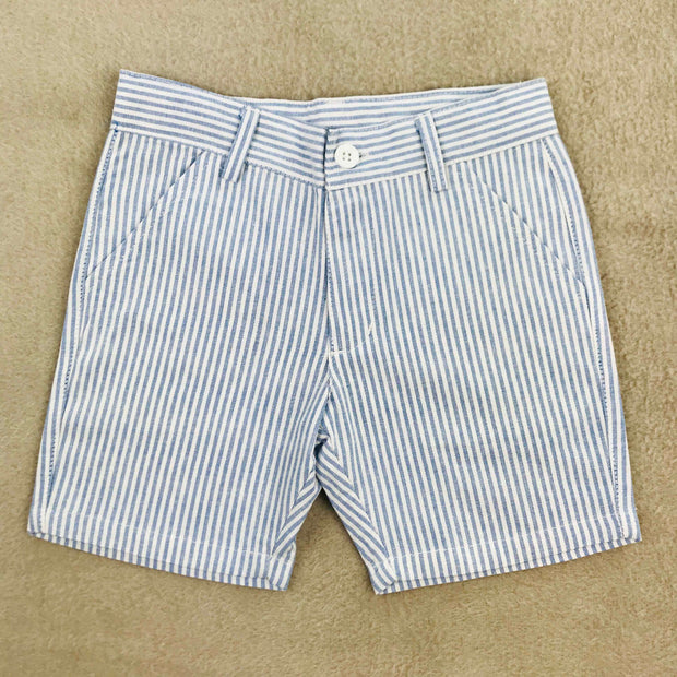 White Shirt & Pin Stripe Shorts Set Shorts Front