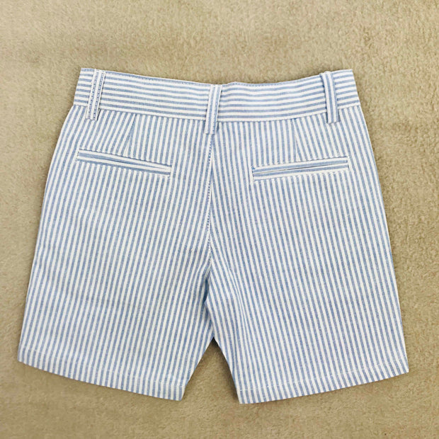White Shirt & Pin Stripe Shorts Set Shorts Rear