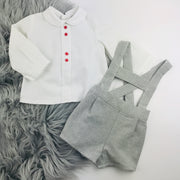Grey & Cream H Bar Shorts & Shirt Set Seperate