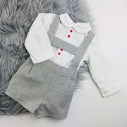 Grey & Cream H Bar Shorts & Shirt Set