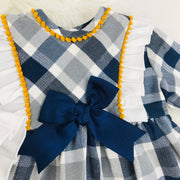Navy Blue Tartan Long Sleeve Spanish Dress  Bow Close