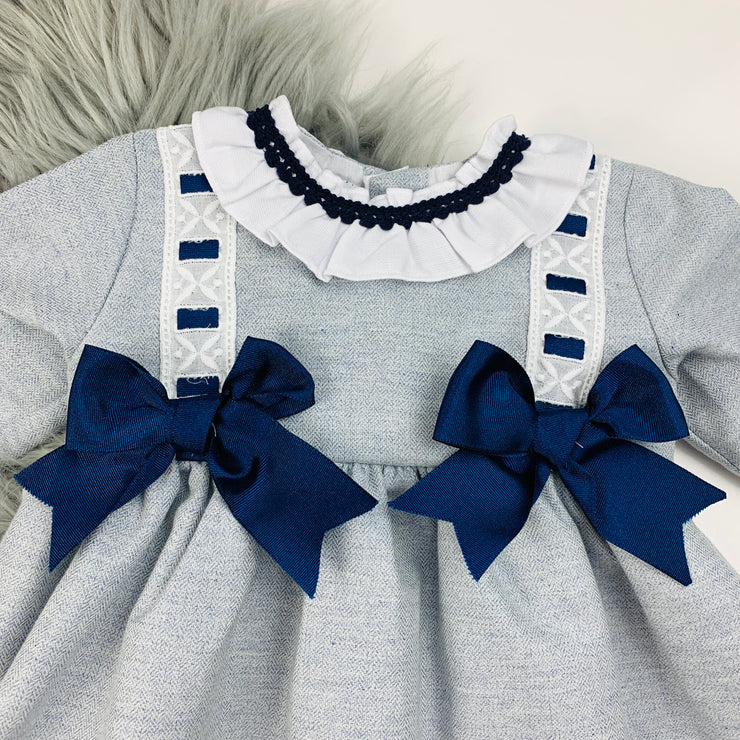 Grey & Navy Blue Long Sleeve Spanish Dress