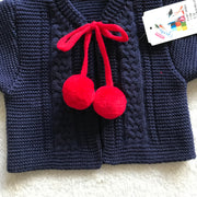 Navy Blue & Red Knitted H-Bar Pom Pom Set