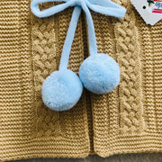 Camel & Baby Blue Knitted H-Bar Pom Pom Set