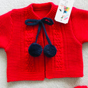 Red & Navy Blue Knitted H-Bar Pom Pom Set