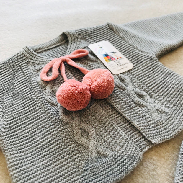 Grey & Dusky Pink Knitted H-Bar Pom Pom Set