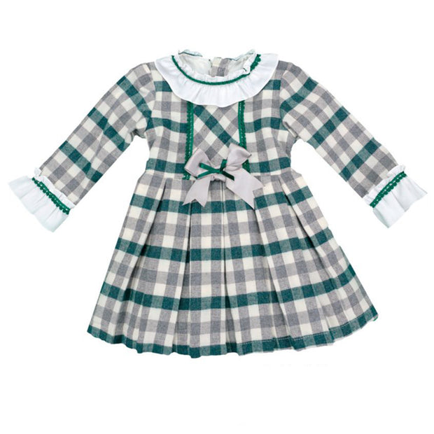 Green Tartan Long Sleeve Spanish Dress