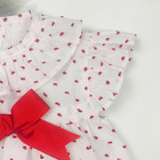 White & Red Dobbie Dress Sleeve Close