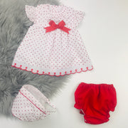 White & Red Dobbie Dress Set