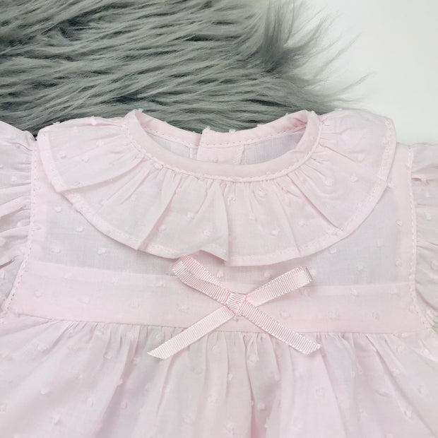 Pale Pink Dobbie Dress Collar Close