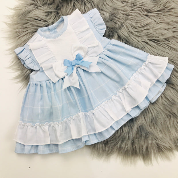 Baby Blue Check Spanish Dress