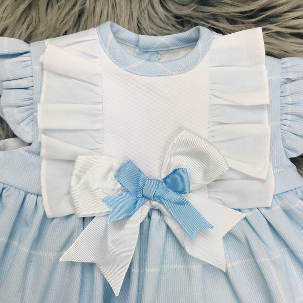 Baby Blue Check Spanish Dress Collar Close