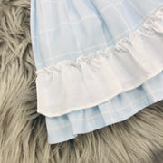 Baby Blue Check Spanish Dress Hem Close