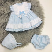 Baby Blue Check Spanish Dress Set