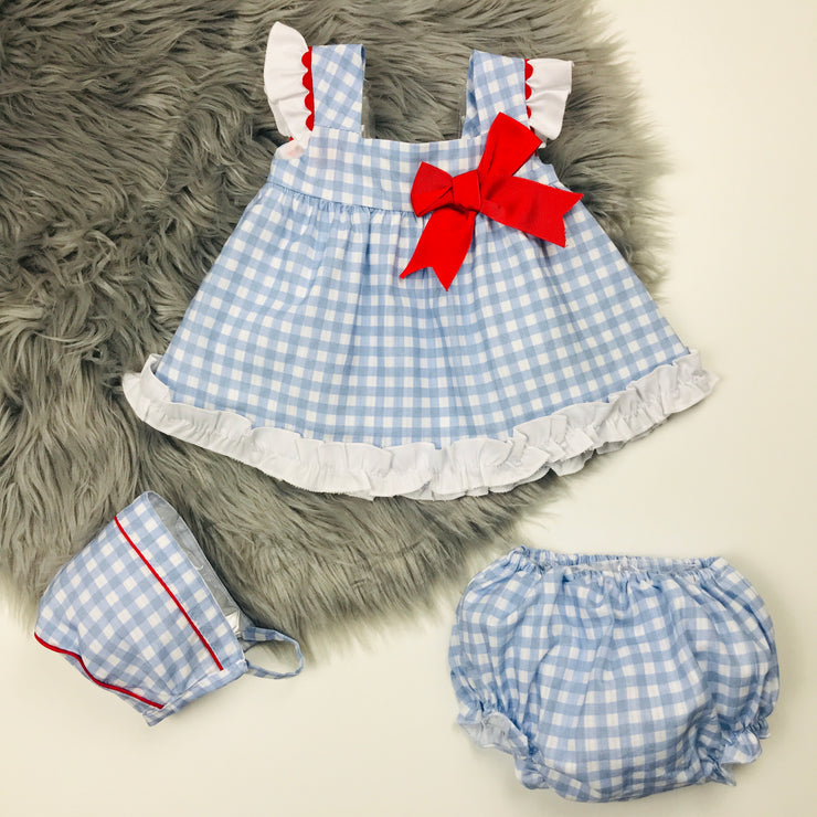 Blue Check Spanish Dress Set