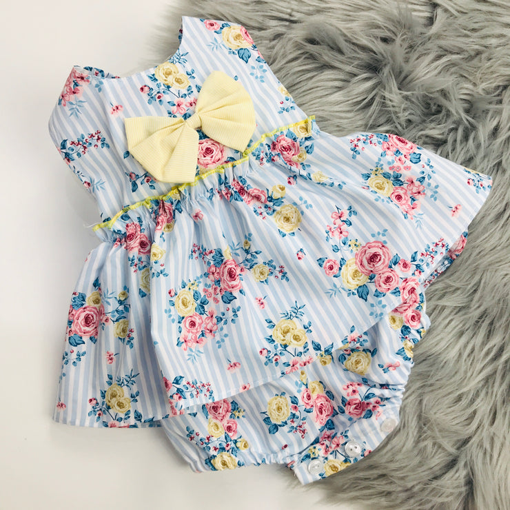 Blue Stripped Floral Romper