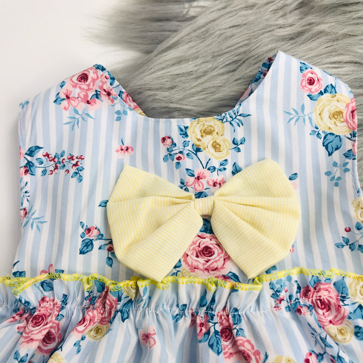 Blue Stripped Floral Romper Bow Close