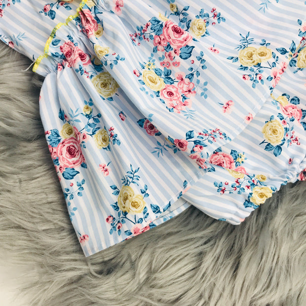 Blue Stripped Floral Romper Skirt Close