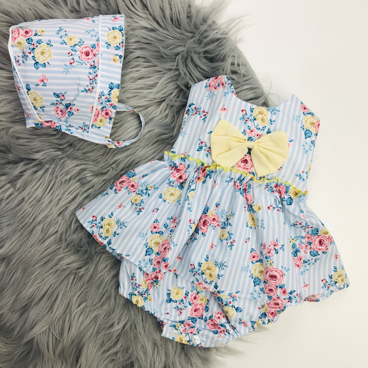 Blue Stripped Floral Romper & Bonnet