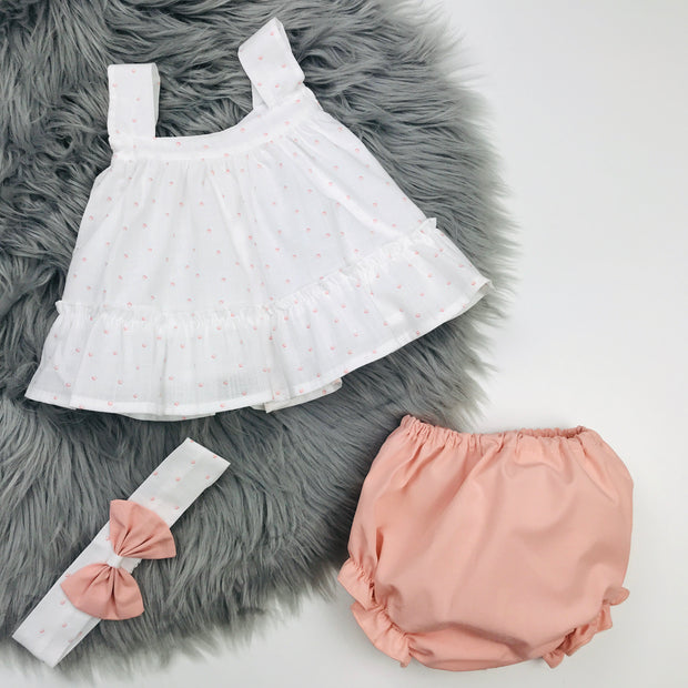 Ivory & Peach Jam Pants Set