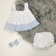 Blue & White Jam Pants Set