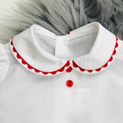 Red & White Shirt Collar Close