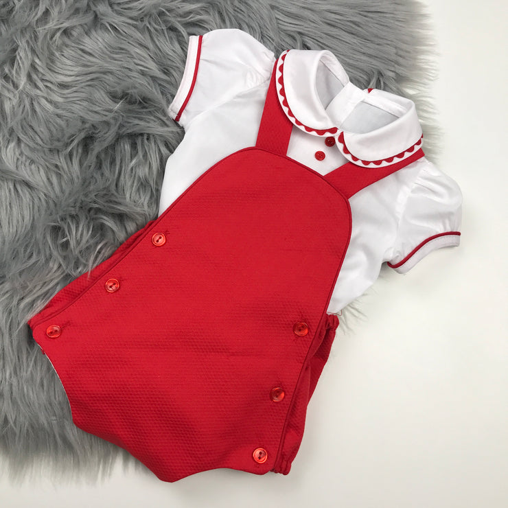 Red Dungaree Romper & Shirt Set