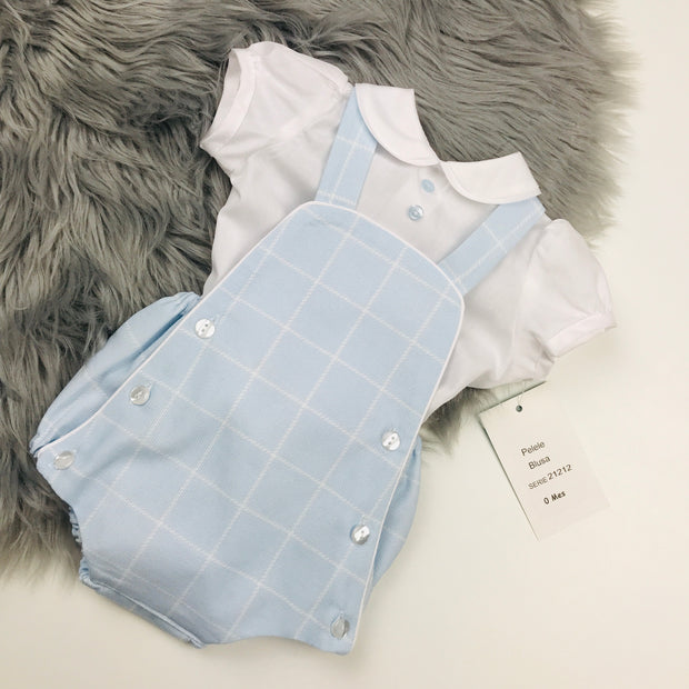 Blue Dungaree Romper & Shirt Set